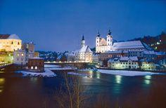 """Idyllic confluence of Enns and Steyr [Steyr, Austria] in winter"""