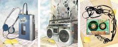 Music | #graphics #illustrations #grafica #illustrazione #drawing #painting #adobe #illustrator #photoshop #colors #headphones #tape #cassetta #nastro #walkman #radio #stereo #postit #style