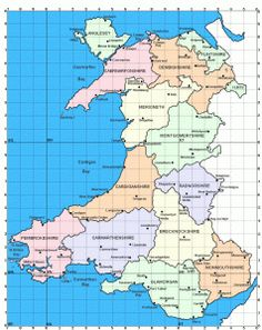 Map of Wales showing the old counties before the modern restructure.My grandmother immigrated from Pontypridd, Glamorgan County, Wales Celtic Nations, County Map, Kingdom Of Great Britain, Cymru, Family Genealogy, Old Maps, Historical Maps, British History, Northern Ireland