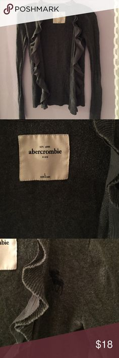 Gray Ruffled Abercrombie cardigan Excellent Condtion! Beautiful, gray cardigan from Abercrombie kids. Collar lined with velvet and ruffled detailing. 60% Cotton abercrombie kids Sweaters Cardigans
