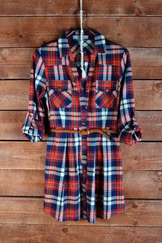 Red Plaid Shirt Dress Tunic | The Texas Cowgirl