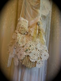 Shabby Cottage Purse, crocheted doily lace fringe beads buttons charms handmade chic. $125.00, via Etsy.