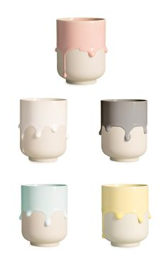 ARHOJ > Melting Mug Hand-cast porcelain mug with thick, running glazes based on the traditional Japanese yunomi tea mug shape meant for everyday use in Japan.