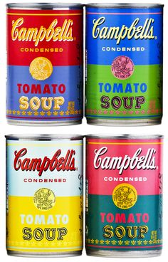 Campbell's Soup celebrates their 50th Anniversary by creating 4 Limited Edition cans of Tomato Soup made famous by Pittsburg pop-art famed Andy Warhol.  Each of the 4 cans has a different color scheme based on the artist's prints.  Go see the original art at The Andy Warhol Museum in dowtown Pittsburgh, PA.  It does not disappoint!