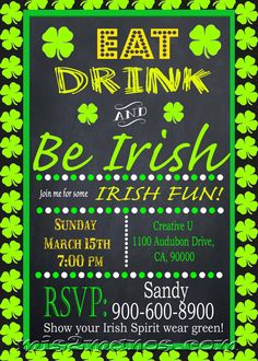 St. Patrick's Day Invitation Eat Drink and Be by M2MPartyDesigns
