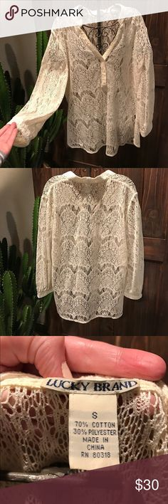 Lucky brand lace top Lace top with 3/4 sleeve Lucky Brand Tops Blouses