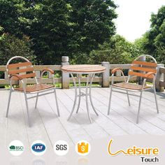 Outdoor plastic wood furniture dining set restaurant aluminum chair and table