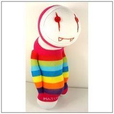 Handmade Sock Ghost Stuffed Animal Doll Baby by supersockmonkeys