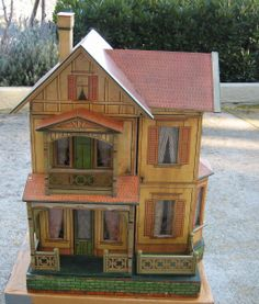 Antique German Gottschalk Red Roof paper litho doll house c1908