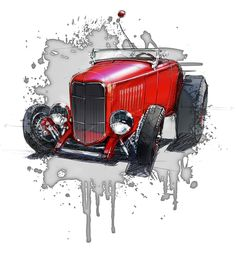 Custom automotive and hot rod designs, automotive artwork, automotive renderings, and logo designs. Cool Car Drawings, Cartoon Drawings, Classic Hot Rod, Garage Art, Car Illustration, Car Sketch, Cycling Art, Automotive Art, Sports Art