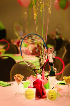 Great centerpiece, complete with a raquet and photo of the guest of honor