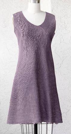 Felted gray purple silk woman dress OOAK seamless dress gown