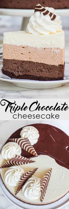 The ultimate triple chocolate cheesecake recipe! Made with dark chocolate cheesecake, milk chocolate mousse cake, and no-bake white chocolate cheesecake. Just Desserts, Delicious Desserts, Yummy Food, Health Desserts, Easy Cheesecake Recipes, Dessert Recipes, Chocolate Graham Cracker Crust, Triple Chocolate Cheesecake, Chocolate Chocolate