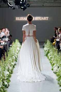 Crop top and separate skirt bridal wear combination. From the 'Elizabeth Stuart ~ The Enchantment of The Seasons Fall/Autumn 2014 Bridal Wear Collection' Photographed by Catherine Mead http://photographybycatherine.co.uk/ for Elizabeth Stuart http://www.elizabeth-stuart.com/