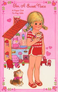 Valentine Paper Doll Cards - Girl with Dollhouse 1 of 2