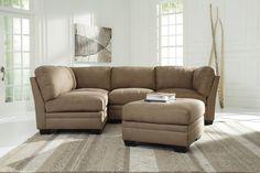 Iago Contemporary Mocha Fabric Solid Wood Sectional W/Ottoman