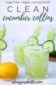 Clean Cucumber Collins is a non-alcoholic and sugar-free version of a classic Tom Collins cocktail – super refreshing and easy to make! As perfect for your winter cocktail party as it is to sip on a hot summer day. Best Non Alcoholic Drinks, Healthy Cocktails, Yummy Drinks, Diet Drinks, Refreshing Cocktails, Non Alcoholic Margarita, Fall Drinks Alcohol, Best Mocktails, Mojito Mocktail