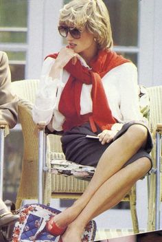 Princess Diana style, red sweater, white blouse, black skirt