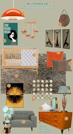furnishings concept board for a client 39 s mid century modern nursery