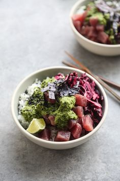 Ahi Tuna Poke Recipe with Pickled Cabbage and Cilantro-Ginger Sauce   Easy Bowls   Feed Me Phoebe