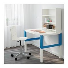 "IKEA - PÅHL, Desk with shelf unit, white/blue, , This desk is designed to grow with your child, thanks to the three different heights.The desk is easily adjusted to 23 1/4"", 25 7/8"" or 28 3/8"" by using the knobs on the legs.You can keep cables and extension cords organized by placing them in the cable holders between the front and back legs.Choose an expression to suit your home and style by turning either the green or white side of the back panel outwards."
