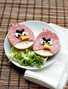 Angry Bird sandwhiches