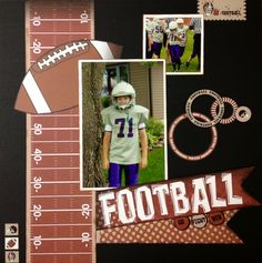 ADORABLE football one-page layout using Moxxie paper. Created by Misty Rushlow