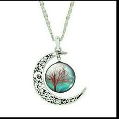 NEW Tree of Life Crescent Moon Cabochon Glass Necklace