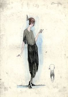 """Day Dress, Callot Soeurs, Spring 1919.  Grey mid calf length dress with black fringe overskirt; bodice with round neck, short sleeves with black fringe; brown turban, black  comb. (Bendel Collection, HB 032-64)"", 1919. Fashion sketch. Brooklyn Museum, Fashion sketches. (Photo: Brooklyn Museum, SC01.1_Bendel_Collection_HB_032-064_1919_Callot_SL5.jpg)"