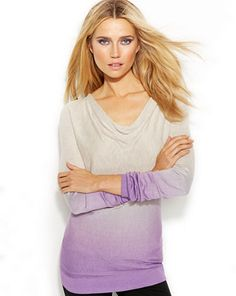 INC International Concepts Long-Sleeve Cowl-Neck Ombre Sweater