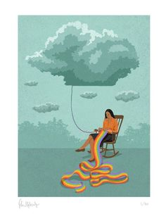Signed limited edition art print of conceptual illustration featuring woman knitting a rainbow about hope and optomism
