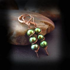 Wire Wrapped Pearl and Copper Earrings - Wire Wrapped Jewelry Handmade - Emerald Green Pearls -  Antiqued Copper Earrings - ENCHANTED