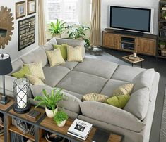 u couch shaped with 3 ottomans. My Living Room, Home And Living, Living Spaces, Small Living, Living Area, U Shaped Couch Living Room, U Couch, Cuddle Couch, Cozy Couch