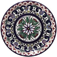 TALAVERA dinner plate (lead-free) Many designs. Made in Mexico: 49.95