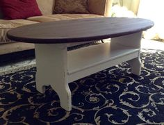 White Shabby Chic Farmhouse Oval Coffee Table