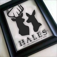 """Custom """"Stag & Doe"""" Family Name Frame - Perfect Wedding, Anniversary, Engagement Gift - Great Prop signs for Wedding/Engagement Photos by MajopageCreative on Etsy"""