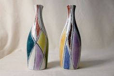 Pair of Italian Pottery Vases Harlequin Sgraffito Vintage Mid Century V7 1958