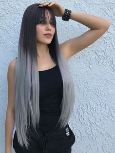 Awesome 25 Coolest Dark Ombre Hair for Women . Dark Ombre Hair, Blond Ombre, Ombre Hair Color, Cool Hair Color, Blue Hair, Ombre Silver Hair, Ombre Style, Red Ombre, Wigs With Bangs