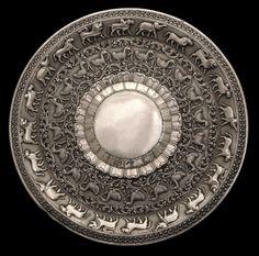Sri Lankan silver platter with moonstone design