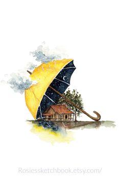 Watercolor cabin under an umbrella wilderness inspired nursery room decor Watercolor Landscape Paintings, Watercolor Paintings, Watercolour, Art Mignon, Art Et Illustration, Color Pencil Art, Aesthetic Art, Oeuvre D'art, Cute Drawings