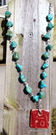 Hand Linked  Turquoise Nuggets  Red Ceramic by Milepost64Designs, $35.00