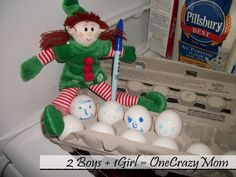 Our @Elf Magic Elf Becky was drawing on our Eggs while we were asleep..Silly #Elf Becky