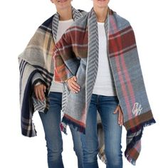 Stay cozy with the personalized Chevron and Plaid Reversible Blanket Wrap. The stylish scarf features opposable chevron and plaid patterns. This wraps versatile style allows it to be worn as a wrap around the shoulders or around neck as a cozy oversized scarf. Embroider a monogram or initials on the bottom left corner.  https://www.thingsremembered.com/chevron-and-plaid-reversible-blanket-wrap/product/350665