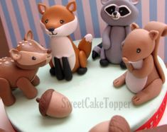 Download This Pin Woodland Animals Fondant Cake Toppers Deer Squirrel cakepins.com