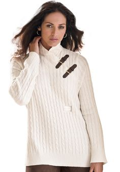 Cable knit plus size sweater with crossover turtleneck and decorative buckles at the neckline. #cozy #sweater #winter #plussize
