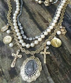 Layered Catholic Religious Assemblage Necklace $146 + Free Shipping