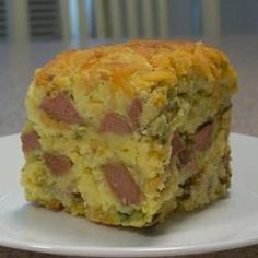 Corn Dog Casserole  My son had this @ a friends house & has obsessed over it!