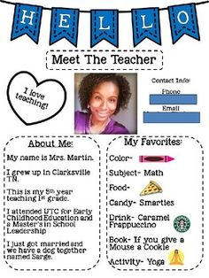 Editable Meet the Teacher Letter by Martin Teaching Co Teacher Introduction Letter, Letter To Teacher, Letter To Parents, First Year Teachers, New Teachers, Beginning Of The School Year, First Day Of School, Meet The Teacher Template, Teacher Forms