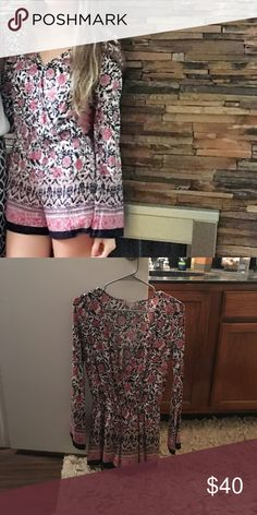 Floral Romper Long sleeve shirt floral Romper from altar'd state 2016. Worn once (see picture). Perfect condition. Cotton, comfy, versatile. Altar'd State Pants Jumpsuits & Rompers