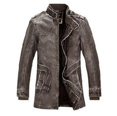 Slim Warm Mens Leather Jacket - All In One Place With Us